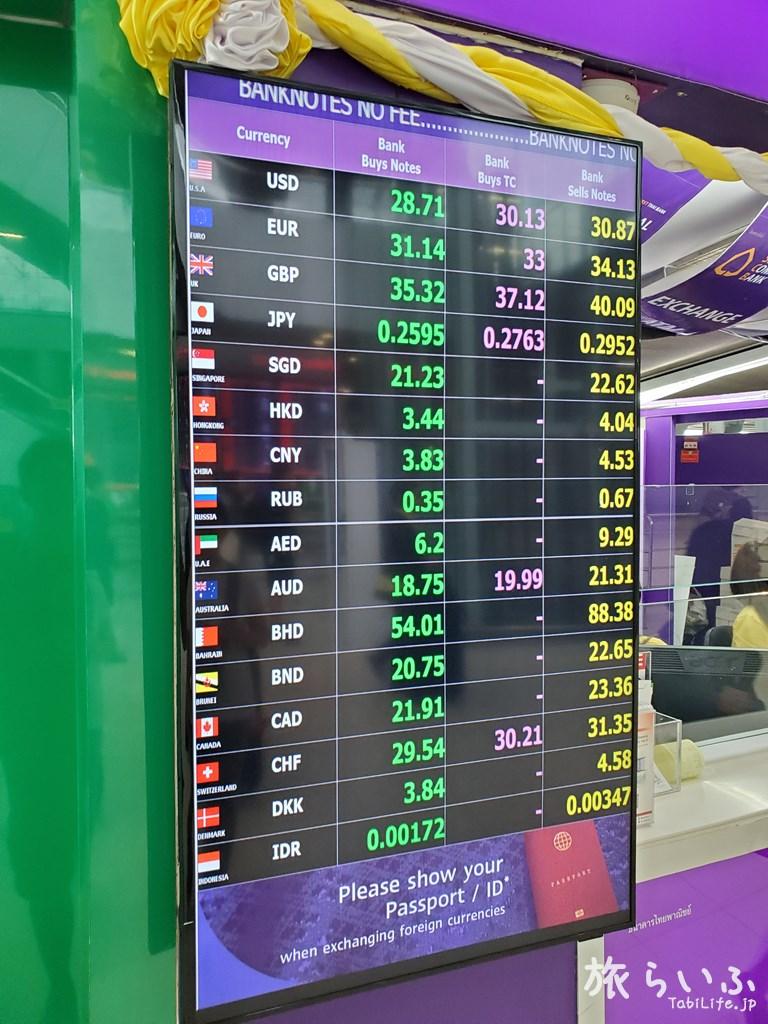 スワンナプーム国際空港 サイアム商業銀行 両替所