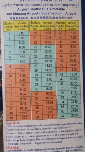 ドンムアン空港 シャトルバス・時刻表